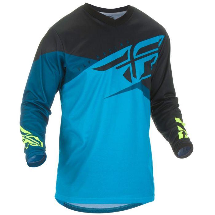 FLY F16 Kinder Motocross Jersey blau schwarz neongelb